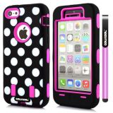 Apple Iphone 5C Case Silicone Polka Dot 2in1 Hybrid High Impact Protective Case For Apple Iphone 5C(Rose Pink)