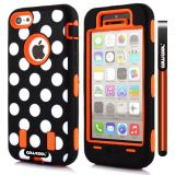 Apple Iphone 5C Case Silicone Polka Dot 2in1 Hybrid High Impact Protective Case For Apple Iphone 5C(Orange)