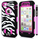 Apple Iphone 5C Case Silicone With Hard Pc Zebra 2in1 Hybrid High Impact Protective For Apple Iphone 5C Case(Rose Pink)