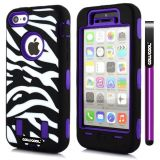 Apple Iphone 5C Case Silicone With Hard Pc Zebra 2in1 Hybrid High Impact Protective For Apple Iphone 5C Case(Deep Blue)