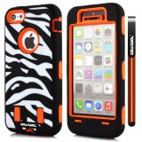 Apple Iphone 5C Case Silicone With Hard Pc Zebra 2in1 Hybrid High Impact Protective For Apple Iphone 5C Case(Orange)