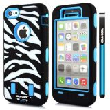 Apple Iphone 5C Case Silicone With Hard Pc Zebra 2in1 Hybrid High Impact Protective For Apple Iphone 5C Case(Sky Blue)