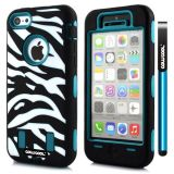Apple Iphone 5C Case Silicone With Hard Pc Zebra 2in1 Hybrid High Impact Protective For Apple Iphone 5C Case(Teal)