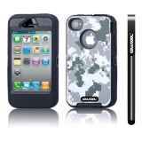 Apple Iphone 4 4S Case Silicone With Hard Pc Camo Digital Camo 2in1 Hybrid High Impact Protective Case For Apple Iphone 4 4S(Grey with Black)