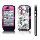 Apple Iphone 4 4S Case Silicone With Hard Pc Camo Digital Camo 2in1 Hybrid High Impact Protective Case For Apple Iphone 4 4S(Green with Pink)