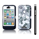 Apple Iphone 4 4S Case Silicone With Hard Pc Camo Digital Camo 2in1 Hybrid High Impact Protective Case For Apple Iphone 4 4S(Grey with White)