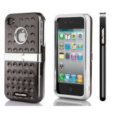 Apple Iphone & 4 4S Case Hard Pc Projection Array And Sag Arrays Double Layer Protective Case For Apple Iphone 4 4S(Black)
