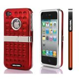 Apple Iphone 4 4S Case Hard Pc Projection Array And Sag Arrays Double Layer Protective Case For Apple Iphone 4 4S(Red)