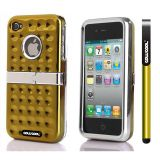 Apple Iphone 4 4S Case Hard Pc Projection Array And Sag Arrays Double Layer Protective Case For Apple Iphone 4 4S(Golden)