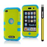 Apple Itouch 4 Case Silicone With Hard Pc Bright 2in1 Hybrid High Impact Protective Case For Itouch 4(Light Green)