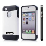 Apple Iphone 4 Case Rubber Leather Texture Single Layer Protective Case For Apple Iphone 4(White with Black)