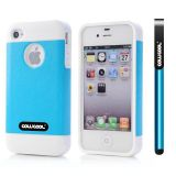 Apple Iphone 4 Case Rubber Leather Texture Single Layer Protective Case For Apple Iphone 4(Sky Blue with White)