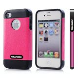 Apple Iphone 4 Case Rubber Leather Texture Single Layer Protective Case For Apple Iphone 4(Pink with Black)