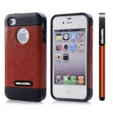 Apple Iphone 4 Case Rubber Leather Texture Single Layer Protective Case For Apple Iphone 4(Brown with Black)