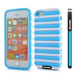 Apple Iphone 5 5S Case Hard Pc Stripe Ladder 2in1 Hybrid High Impact Protective Case For Apple Iphone 5 5S(Sky Blue with White)