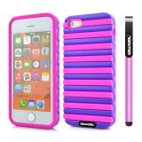 Apple Iphone 5 5S Case Hard Pc Stripe Ladder 2in1 Hybrid High Impact Protective Case For Apple Iphone 5 5S(Pink with Purple)