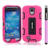 Samsung 9500 Galaxy S4 Case Silicone With Hard Pc Double Color 2in1 Hybrid High Impact With Kickstand Protective Case For Samsung 9500 Galaxy S4(Pink with Black)