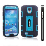 Samsung 9500 Galaxy S4 Case Silicone With Hard Pc Double Color 2in1 Hybrid High Impact With Kickstand Protective Case For Samsung 9500 Galaxy S4(Black with Sky Blue)
