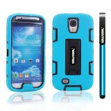Samsung 9500 Galaxy S4 Case Silicone With Hard Pc Double Color 2in1 Hybrid High Impact With Kickstand Protective Case For Samsung 9500 Galaxy S4(Sky Blue with Black)