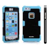 Apple Iphone 5 5S Case Luminous Silicone With Hard Pc Double Color 2in1 Hybrid High Impact Protective Case For Apple Iphone 5 5S(Sky Blue with Black)