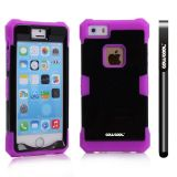 Apple Iphone 5 5S Case Luminous Silicone With Hard Pc Double Color 2in1 Hybrid High Impact Protective Case For Apple Iphone 5 5S(Purple with Black)