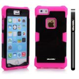 Apple Iphone 5 5S Case Luminous Silicone With Hard Pc Double Color 2in1 Hybrid High Impact Protective Case For Apple Iphone 5 5S(Rose Pink with Black)