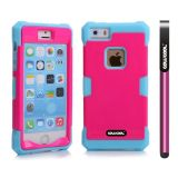 Apple Iphone 5 5S Case Luminous Silicone With Hard Pc Double Color 2in1 Hybrid High Impact Protective Case For Apple Iphone 5 5S(Sky Blue with Rose Pink)