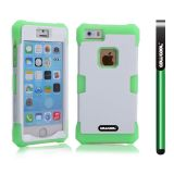 Apple Iphone 5 5S Case Luminous Silicone With Hard Pc Double Color 2in1 Hybrid High Impact Protective Case For Apple Iphone 5 5S(Green with White)