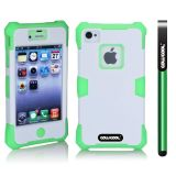 Apple Iphone 4 4S Case Luminous Silicone With Hard Pc Double Color 2in1 Hybrid High Impact Protective Case For Apple Iphone 4 4S(Light Green with White)