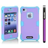 Apple Iphone 4 4S Case Luminous Silicone With Hard Pc Double Color 2in1 Hybrid High Impact Protective Case For Apple Iphone 4 4S(Sky Blue with violet)