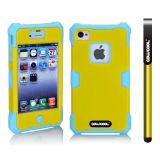 Apple Iphone 4 4S Case Luminous Silicone With Hard Pc Double Color 2in1 Hybrid High Impact Protective Case For Apple Iphone 4 4S(Sky Blue with Yellow)