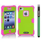 Apple Iphone 4 4S Case Luminous Silicone With Hard Pc Double Color 2in1 Hybrid High Impact Protective Case For Apple Iphone 4 4S(Rose Pink with Cyan)
