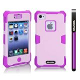 Apple Iphone 4 4S Case Luminous Silicone With Hard Pc Double Color 2in1 Hybrid High Impact Protective Case For Apple Iphone 4 4S(Purple with Light Purple)