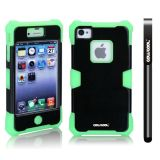 Apple Iphone 4 4S Case Luminous Silicone With Hard Pc Double Color 2in1 Hybrid High Impact Protective Case For Apple Iphone 4 4S(Light Green with Black)