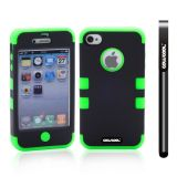 Apple Iphone 4 4S Case Silicone With Hard Pc Double Color 2in1 Hybrid High Impact Protective Case For Apple Iphone 4 4S(Black with Light Green)