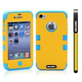 Apple Iphone 4 4S Case Silicone With Hard Pc Double Color 2in1 Hybrid High Impact Protective Case For Apple Iphone 4 4S(Yellow with Sky Blue)