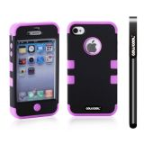 Apple Iphone 4 4S Case Silicone With Hard Pc Double Color 2in1 Hybrid High Impact Protective Case For Apple Iphone 4 4S(Black with Purple)