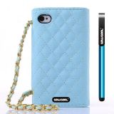 Apple Iphone 4 4S Case Pu Leather Diamond Wire Lattice Hand Stitching Wallet Protective Case For Apple Iphone 4 4S(Sky Blue)