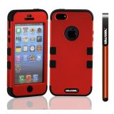 Apple Iphone 5 5S Case Silicone With Hard Pc Double Color 3in1 Hybrid High Impact Protective Case For Apple Iphone 5 5S(Red with Black)