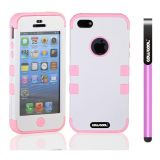 Apple Iphone 5 5S Case Silicone With Hard Pc Double Color 3in1 Hybrid High Impact Protective Case For Apple Iphone 5 5S(White with Pink)