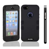 Apple Iphone 5 5S Case Silicone With Hard Pc Double Color 3in1 Hybrid High Impact Protective Case For Apple Iphone 5 5S(Black with Black)