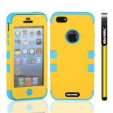 Apple Iphone 5 5S Case Silicone With Hard Pc Double Color 3in1 Hybrid High Impact Protective Case For Apple Iphone 5 5S(Yellow with Sky Blue)