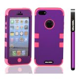 Apple Iphone 5 5S Case Silicone With Hard Pc Double Color 3in1 Hybrid High Impact Protective Case For Apple Iphone 5 5S(Purple with Pink)
