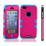 Apple Iphone 5 5S Case Silicone With Hard Pc Double Color 3in1 Hybrid High Impact Protective Case For Apple Iphone 5 5S(Rose Pink with Sky Blue)