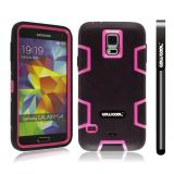 Samsung N9600 Galaxys5 Case Silicone With Hard Pc Double Color 2in1 Hybrid High Impact Protective Case For Samsung N9600 Galaxys5(Black with Pink)