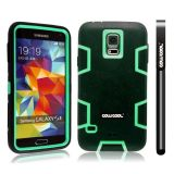 Samsung N9600 Galaxys5 Case Silicone With Hard Pc Double Color 2in1 Hybrid High Impact Protective Case For Samsung N9600 Galaxys5(Black with Green)
