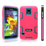 Samsung N9600 Galaxys5 Case Silicone With Hard Pc Double Color 2in1 Hybrid High Impact Protective Case For Samsung N9600 Galaxys5(Pink with Sky Blue)