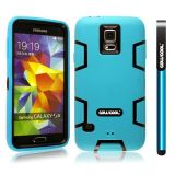 Samsung N9600 Galaxys5 Case Silicone With Hard Pc Double Color 2in1 Hybrid High Impact Protective Case For Samsung N9600 Galaxys5(Sky Blue with Black)