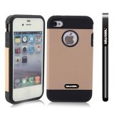 Apple Iphone 4 4S Case Tpu With Pc Double Color 2in1 Hybrid High Impact Protective Case For Apple Iphone 5 5S(Light brown)