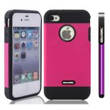 Apple Iphone 4 4S Case Tpu With Pc Double Color 2in1 Hybrid High Impact Protective Case For Apple Iphone 5 5S(Pink)